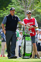 Phil Mickelson (USA) and his caddie, brother Tim, who took over for Bones who was sick after 1.5 holes look over the 7th tee shot during round 2 of the World Golf Championships, Mexico, Club De Golf Chapultepec, Mexico City, Mexico. 3/3/2017.<br /> Picture: Golffile | Ken Murray<br /> <br /> <br /> All photo usage must carry mandatory copyright credit (&copy; Golffile | Ken Murray)