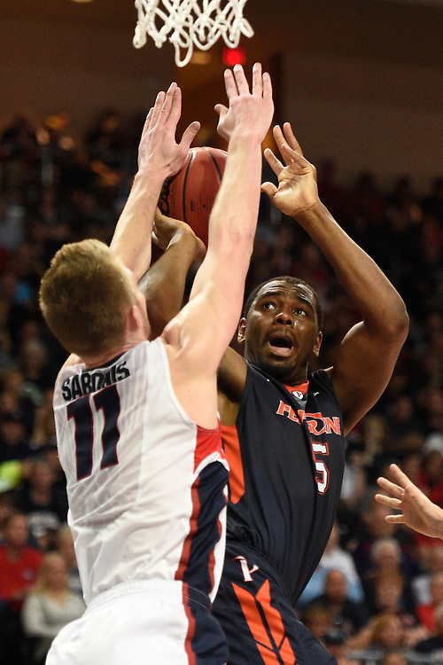March 9, 2015; Las Vegas, NV, USA; Pepperdine Waves forward Stacy Davis (5) shoots the basketball against Gonzaga Bulldogs forward Domantas Sabonis (11) during the second half of the WCC Basketball Championships at Orleans Arena.
