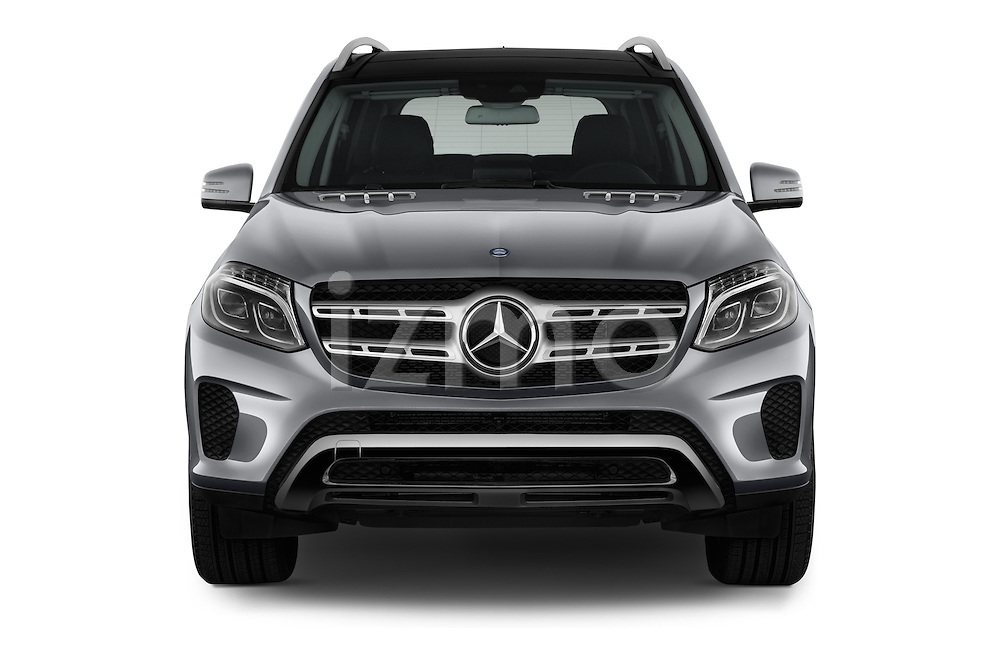 Car photography straight front view of a 2018 Mercedes Benz GLS-Class GLS450 5 Door SUV Front View