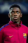 12th September 2017, Camp Nou, Barcelona, Spain; UEFA Champions League Group stage, FC Barcelona versus Juventus; Ousmane Dembélé of FC Barcelona portrait during the Uefa anthem
