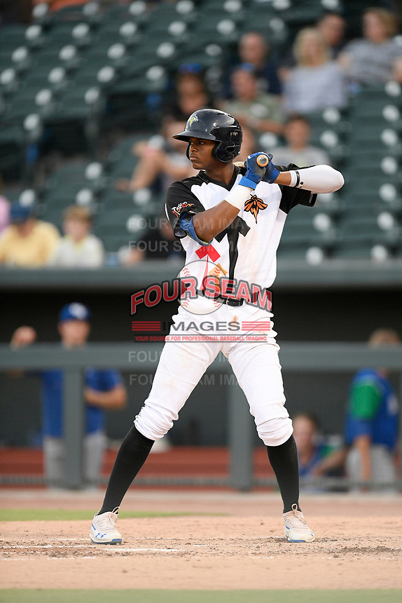 Third baseman Shervyen Newton (3) of the Columbia Fireflies bats in a game against the Lexington Legends on Thursday, June 13, 2019, at Segra Park in Columbia, South Carolina. Lexington won, 10-5. (Tom Priddy/Four Seam Images)