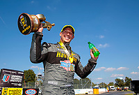 Sep 2, 2019; Clermont, IN, USA; NHRA pro stock drover Alex Laughlin celebrates after winning the US Nationals at Lucas Oil Raceway. Mandatory Credit: Mark J. Rebilas-USA TODAY Sports
