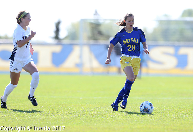 BROOKINGS, SD - SEPTEMBER 17:  Jennie Scislow #28 from South Dakota State University controls the ball in front of Kenzie Engelkins #7 from Northern Colorado during their game Sunday afternoon at Fischback Soccer Field in Brookings. (Photo by Dave Eggen/Inertia)