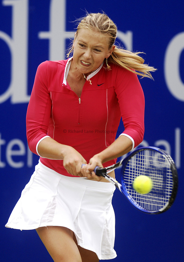 Photo: Glyn Thomas..DFS Classic Tennis final..Edgbaston Priory Club, Birmingham. 12/06/2005...Maria Sharapova on her way to a three set win over Jelena Jankovic in the final at Birmingham.