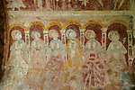 Medieval frescoes church of Saint Mary, Kempley, Gloucestershire, England, UK - apostles on chancel wall