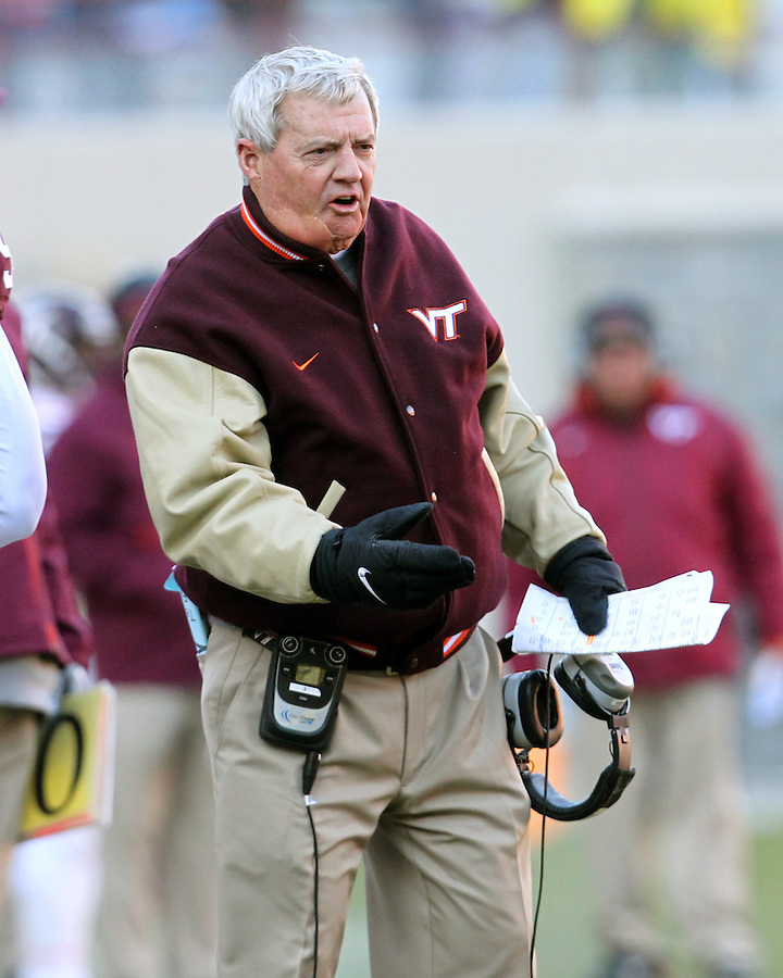 Nov 27, 2010; Charlottesville, VA, USA; Virginia Tech head coach Frank Beamer reacts to a play during the game against the Virginia Cavaliers at Lane Stadium. Virginia Tech won 37-7. Mandatory Credit: Andrew Shurtleff-