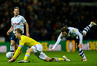 Preston North End's Ben Pearson is shown a red card after this challenge on Leeds United's Patrick Bamford<br /> <br /> Photographer Alex Dodd/CameraSport<br /> <br /> The EFL Sky Bet Championship - Preston North End v Leeds United -Tuesday 9th April 2019 - Deepdale Stadium - Preston<br /> <br /> World Copyright &copy; 2019 CameraSport. All rights reserved. 43 Linden Ave. Countesthorpe. Leicester. England. LE8 5PG - Tel: +44 (0) 116 277 4147 - admin@camerasport.com - www.camerasport.com