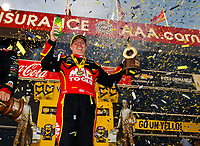 Feb 11, 2018; Pomona, CA, USA; NHRA top fuel driver Doug Kalitta celebrates after winning the Winternationals at Auto Club Raceway. Mandatory Credit: Mark J. Rebilas-USA TODAY Sports