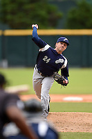 Pensacola Blue Wahoos pitcher Drew Hayes (24) delivers a pitch during a game against the Jacksonville Suns on April 20, 2014 at Bragan Field in Jacksonville, Florida.  Jacksonville defeated Pensacola 5-4.  (Mike Janes/Four Seam Images)