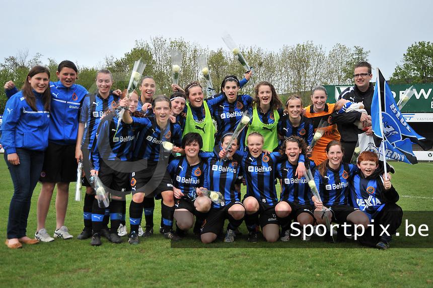 Club Brugge Dames B : vreugde bij Brugge na het behalen van de kampioenstitel.foto DAVID CATRY / Nikonpro.be