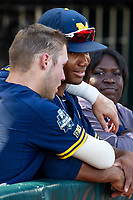 Michigan Wolverines designated hitter Jordan Nwogu (42) before Game 3 of the NCAA College World Series Finals on June 26, 2019 at TD Ameritrade Park in Omaha, Nebraska. Vanderbilt defeated Michigan 8-2 to win the National Championship. (Andrew Woolley/Four Seam Images)