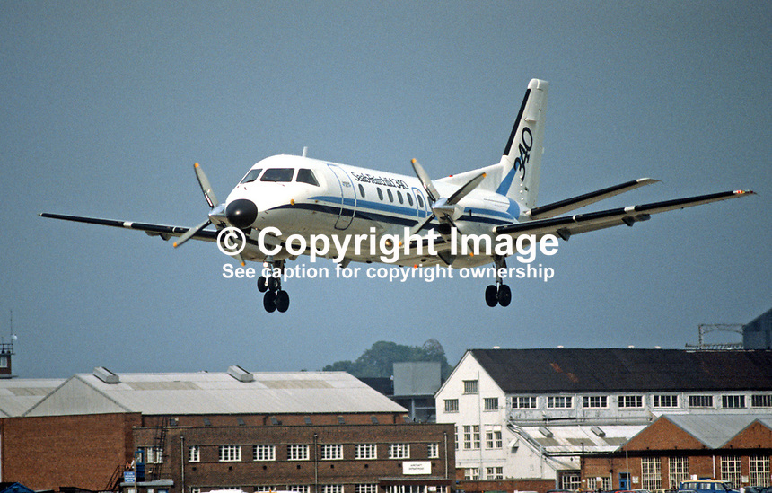 Saab-Fairchild 340 aircraft, landing during Farnborough International Air Show, UK, September, 1984, 19840116b.<br />