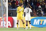 13 JUN 2010:  Vladimir Stojkovic (SRB)(1) has words with Asamoah Gyan (GHA)(3).  The Serbia National Team played the Ghana National Team at Loftus Versfeld Stadium in Tshwane/Pretoria, South Africa in a 2010 FIFA World Cup Group D match.