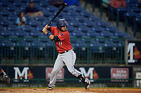 Jacksonville Jumbo Shrimp Santiago Chavez (13) at bat during a Southern League game against the Mississippi Braves on May 4, 2019 at Trustmark Park in Pearl, Mississippi.  Mississippi defeated Jacksonville 2-0.  (Mike Janes/Four Seam Images)