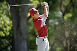 SUGAR GROVE, IL - MAY 31: Grant Hirschman of the University of Oklahoma tees off during the Division I Men's Golf Team Championship held at Rich Harvest Farms on May 31, 2017 in Sugar Grove, Illinois. Oklahoma won the team national title. (Photo by Jamie Schwaberow/NCAA Photos via Getty Images)