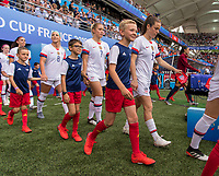 REIMS,  - JUNE 24: Julie Ertz #8, Abby Dahlkemper #7 and Kelley O'Hara #5 take the field during a game between NT v Spain and  at Stade Auguste Delaune on June 24, 2019 in Reims, France.