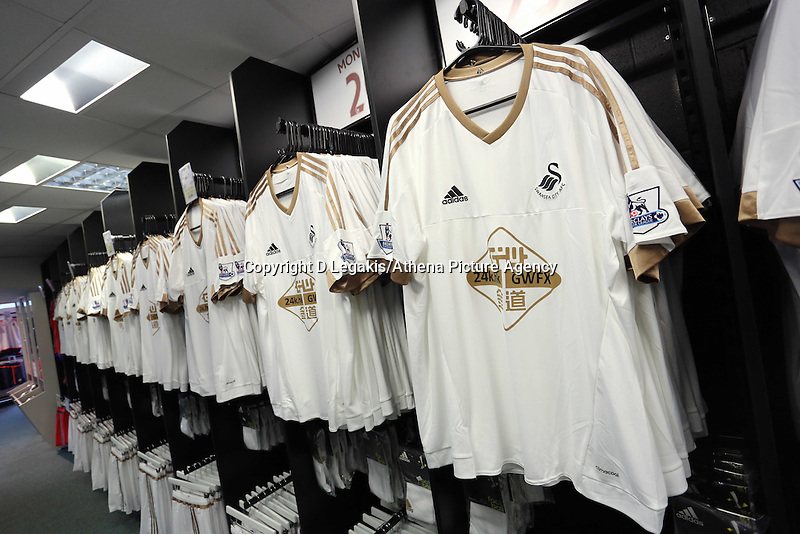 Saturday, 06 June 2015<br /> Pictured: Home shirts<br /> Re: Swansea City FC new home kit launch at the club shop of the Liberty Stadium, south Wales, UK.