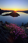 Sunrise along the west rim at Crater Lake National Park, Oregon.