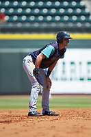 Nolan Jones (10) of the Lynchburg Hillcats takes his lead off of second base against the Winston-Salem Rayados at BB&T Ballpark on June 23, 2019 in Winston-Salem, North Carolina. The Hillcats defeated the Rayados 12-9 in 11 innings. (Brian Westerholt/Four Seam Images)
