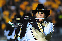 18 October 08: A flute player with the Colorado marching band performs at half time of a game against Kansas State. The Colorado Buffaloes defeated the Kansas State Wildcats 14-13 at Folsom Field in Boulder, Colorado.