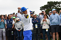 Rickie Fowler (USA) watches his tee shot on 9 during round 1 of the 2019 US Open, Pebble Beach Golf Links, Monterrey, California, USA. 6/13/2019.<br /> Picture: Golffile | Ken Murray<br /> <br /> All photo usage must carry mandatory copyright credit (© Golffile | Ken Murray)