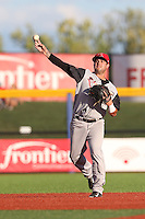 C.J. Hinojosa (1) of the Salem-Keizer Volcanoes makes a throw during a game against the Hillsboro Hops at Ron Tonkin Field on July 27, 2015 in Hillsboro, Oregon. Hillsboro defeated Salem-Keizer, 9-2. (Larry Goren/Four Seam Images)