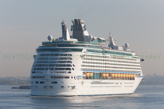 Royal Caribbean cruise ship Explorer of the Seas in New York Harbor prior to docking at the Cape Liberty Cruise Port in Bayonne, New Jersey and departure for Bermuda.