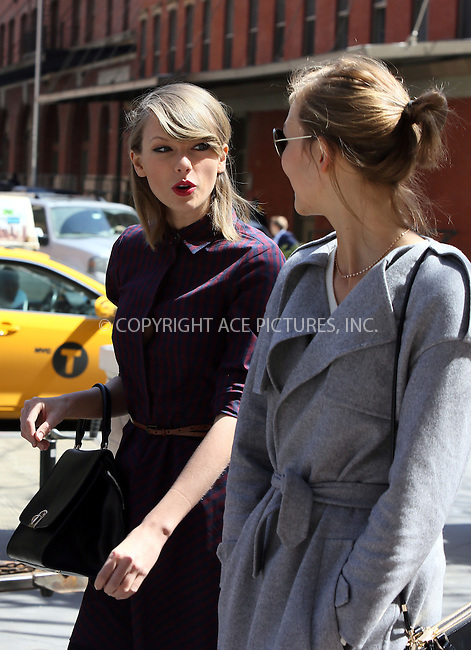 WWW.ACEPIXS.COM<br /> <br /> April 3 2014, New York City<br /> <br /> Taylor Swift and Karlie Kloss go for a walk in Tribeca on April 3 2014 in New York City<br /> <br /> By Line: Philip Vaughan/ACE Pictures<br /> <br /> ACE Pictures, Inc.<br /> tel: 646 769 0430<br /> Email: info@acepixs.com<br /> www.acepixs.com
