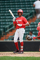 Jeryy Alejo (9) at bat during the Dominican Prospect League Elite Underclass International Series, powered by Baseball Factory, on July 21, 2018 at Schaumburg Boomers Stadium in Schaumburg, Illinois.  (Mike Janes/Four Seam Images)
