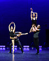London, UK. 12.09.2019. Astana Ballet presents a mixed bill of four one-act pieces, in their UK debut, in the Linbury Theatre, Royal Opera House. The piece shown is A FUEGO LENTO, choreographed by Ricardo Amarante. Performed by ballet dancers of Astana Ballet Theatre. Photograph © Jane Hobson.