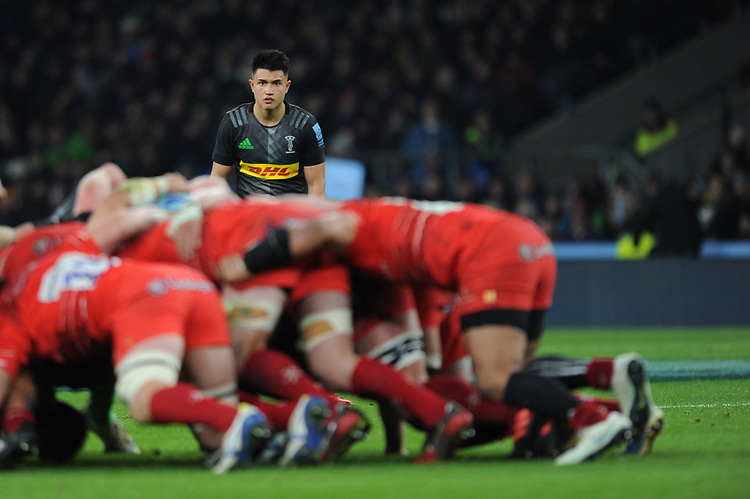 Marcus Smith of Harlequins looks on during Big Game 12 in the Gallagher Premiership Rugby match between Harlequins and Leicester Tigers at Twickenham Stadium on Saturday 28th December 2019 (Photo by Rob Munro/Stewart Communications)