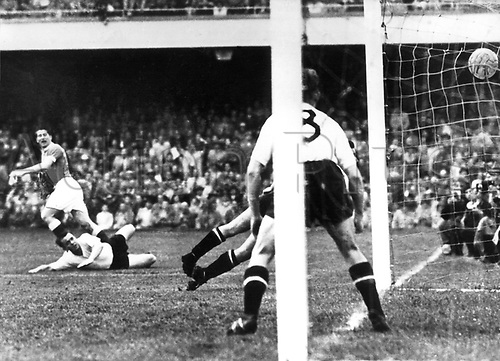 World Cup Finals, Basle, Switzerlsnd. The fourth game for Germany on 30.6.1954 in Basel: Goalkeeper Zeman had left his line as Hans Schaffer played in a corner. Otmar Walter scored the goal. Schelger (8) and another defender attempt to stop the ball crossing the line to no avail.  30th June, 1954 in the sold out Saint Jacob-Stadion in Basel in the World Cup of foot ball world championship