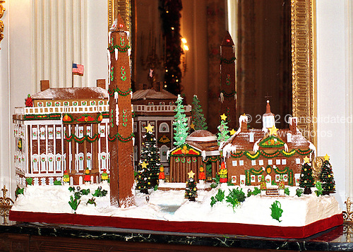 "First Lady Hillary Rodham Clinton announced the 1999 White House holiday theme ""Holiday Treasures at the White House"" on December 6, 1999.  The traditional Gingerbread creation, located in the State Dining Room, is a confectionery tribute to some of the historic treasures around our nation's capitol.  White House pastry chefs created this delicious masterpiece to take us back to 19th century Washington, surrounded by four timeless landmarks at Christmas time: The White House, the Jefferson Memorial, the Washington Monument, and Mount Vernon.  The spectacular creation would not be complete without its marzipan Potomac River and the chocolate trees that line its banks..Credit: Ron Sachs / CNP"