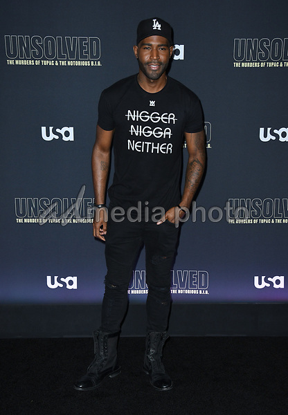 """22 February 2018 - Hollywood, California - Kamaro Brown. USA Network's """"Unsolved: The Murders of Tupac & The Notorious B.I.G."""" held at Avalon Hollywood. Photo Credit: Birdie Thompson/AdMedia"""