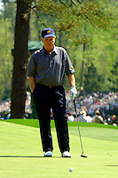 Masters Golf Tournament 2005, Augusta National Georgia, USA. Jack Nicklaus on the green on the green of the 6th hole, Juniper.<br /> <br /> Champion 2005 - Tiger Woods <br /> <br /> Note: There is no property release or model release available for this image.
