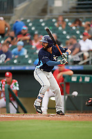 Charlotte Stone Crabs shortstop Peter Maris (3) at bat during a game against the Palm Beach Cardinals on July 22, 2017 at Roger Dean Stadium in Palm Beach, Florida.  Charlotte defeated Palm Beach 5-2.  (Mike Janes/Four Seam Images)