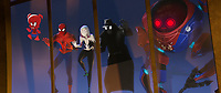 SPIDER-MAN: INTO THE SPIDER-VERSE (anim., 2018)<br /> Spider-Ham (John Mulaney) Peter Parker (Jake Johnson), Spider-Gwen (Hailee Steinfeld), Spider-Man Noir (Nicolas Cage), and SP//DR<br /> *Filmstill - Editorial Use Only*<br /> CAP/FB<br /> Image supplied by Capital Pictures