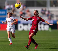 FRISCO, TX - MARCH 11: Jordan Nobbs #10 of England controls the ball during a game between England and Spain at Toyota Stadium on March 11, 2020 in Frisco, Texas.