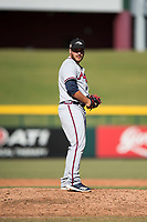 Peoria Javelinas relief pitcher Thomas Burrows (17), of the Atlanta Braves organization, gets ready to deliver a pitch during an Arizona Fall League game against the Mesa Solar Sox at Sloan Park on November 6, 2018 in Mesa, Arizona. Mesa defeated Peoria 7-5 . (Zachary Lucy/Four Seam Images)