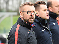 20190409 - TUBIZE , Belgium : Polish head coach Marcin Kasprowicz pictured during a women soccer game between the under 19 teams of Belgium and Poland. This is the Third and final game in their elite round qualification for the European Championship in Schotland 2019. The Belgian national women's soccer team is called the Red Flames, on the 9 th of April in Tubize. PHOTO DAVID CATRY | Sportpix.be