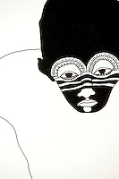 This intricate painted mask is a detail from the mural in the dining room by Jesper Waldersten