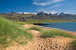 Helgrindur Mountains, Sea, and Sandy Beach in the Former Fishing Village of Budir in West Iceland