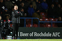 Fleetwood Town manager John Sheridan during the Sky Bet League 1 match between Rochdale and Fleetwood Town at Spotland Stadium, Rochdale, England on 20 March 2018. Photo by Thomas Gadd.
