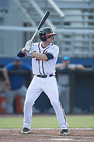 Connor Blair (24) of the Danville Braves at bat against the Bluefield Blue Jays at American Legion Post 325 Field on July 28, 2019 in Danville, Virginia. The Blue Jays defeated the Braves 9-7. (Tracy Proffitt/Four Seam Images)