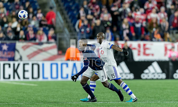 Foxborough, Massachusetts - October 28, 2018: In a Major League Soccer (MLS) match, New England Revolution (blue/white) defeated Montreal Impact (white), 1-0, at Gillette Stadium.