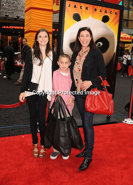 "HOLLYWOOD, {CA} -MAY 22: Mimi Rogers and family arrive at the Los Angeles premiere of ""Kung Fu Panda 2"" held at Grauman's Chinese Theatre on May 22, 2011 in Hollywood, California."