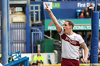 Matt Kilgallon of Bradford City celebrates scoring with a header in the 80th minute during the Sky Bet League 1 match between Portsmouth and Bradford City at Fratton Park, Portsmouth, England on 28 October 2017. Photo by Thomas Gadd.