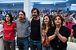 Pablo Iglesias, secretary general of Podemos; Ione Belarra, deputy spokesperson for United We can; Rafa Mayoral, secretary of Civil Society and Popular Movement of Podemos; Gloria Elizo, secretary in Podemos of Politices against corruption; and Isa Serra, spokesperson for United Podemos in the Madrid Assembly; in a meeting of Podemos with people in Madrid where they exchange points of view, listen to concerns and draw shared horizons.<br /> October 5, 2019. <br /> (ALTERPHOTOS/David Jar)