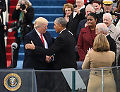 President-elect Donald J. Trump greets President Barack Obama as he arrives for his inauguration on January 20, 2017 in Washington, D.C.  Trump becomes the 45th President of the United States.        <br /> Credit: Pat Benic / Pool via CNP