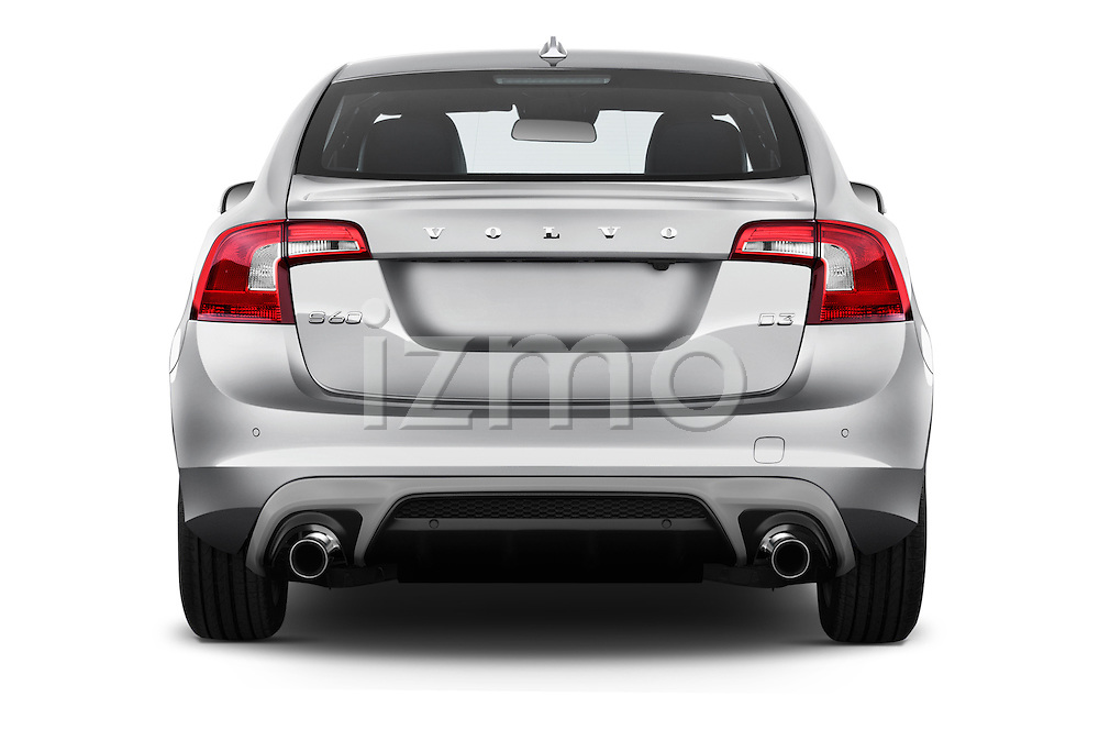 Straight rear view of 2017 Volvo S60 R-Design 4 Door Sedan Rear View  stock images